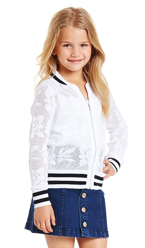 Autumn Cashmere Kids Floral Bomber Jacket in Bleach White & Black