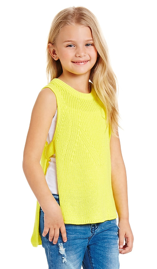 Autumn Cashmere Kids Open Side Sleeveless Sweater in Yellow