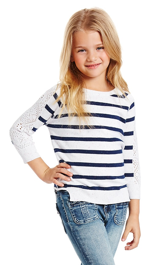 Autumn Cashmere Kids Stripe Crew Neck Sweater in White