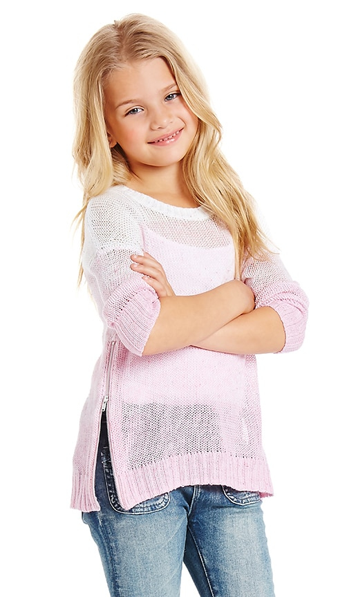 Autumn Cashmere Kids Ombre Side Zip Sweater in Swan & Tutu Combo