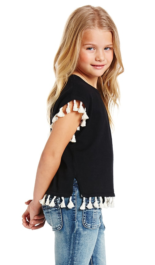 Autumn Cashmere Kids Short Sleeve Tassel Sweater in Black & Cream