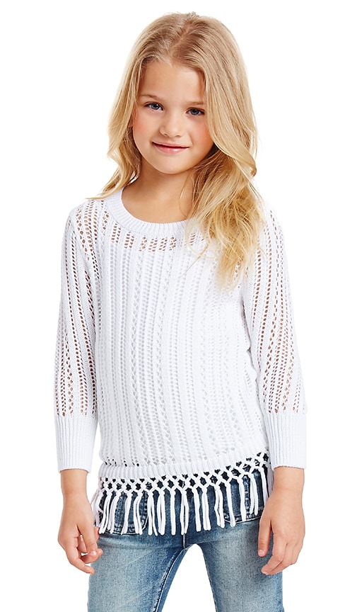 Autumn Cashmere Kids Fringe Crew Neck Sweater in White