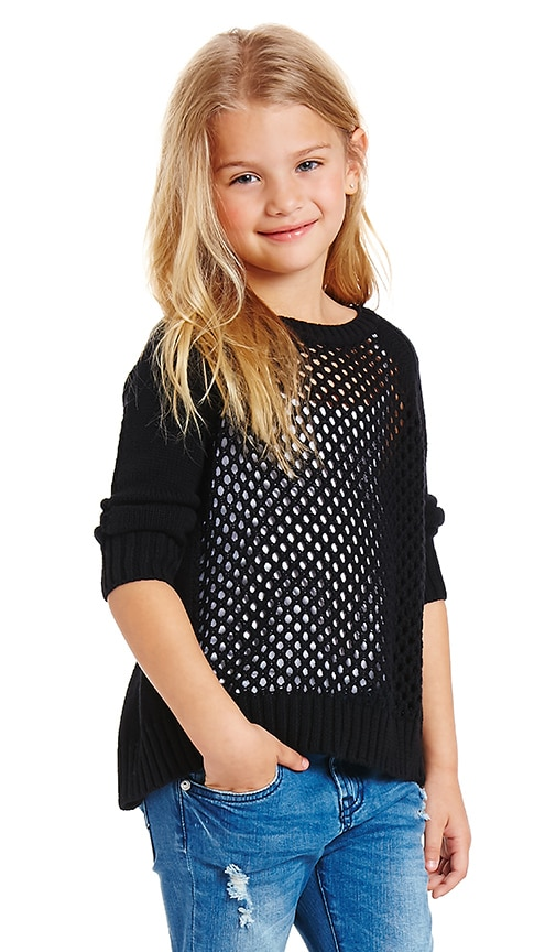 Autumn Cashmere Kids V Back Sweater in Twilight