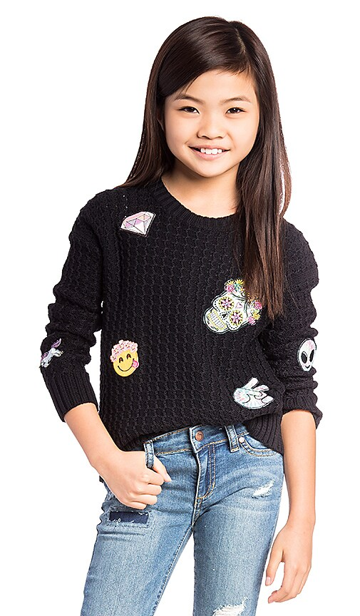 Autumn Cashmere Kids Patch Crew Neck Sweater in Black
