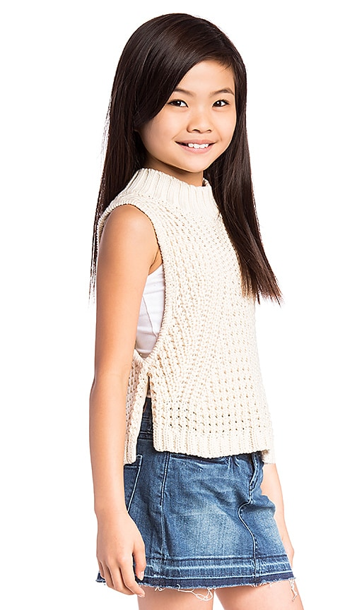 Autumn Cashmere Kids Turtleneck Sleeveless Sweater in Cream