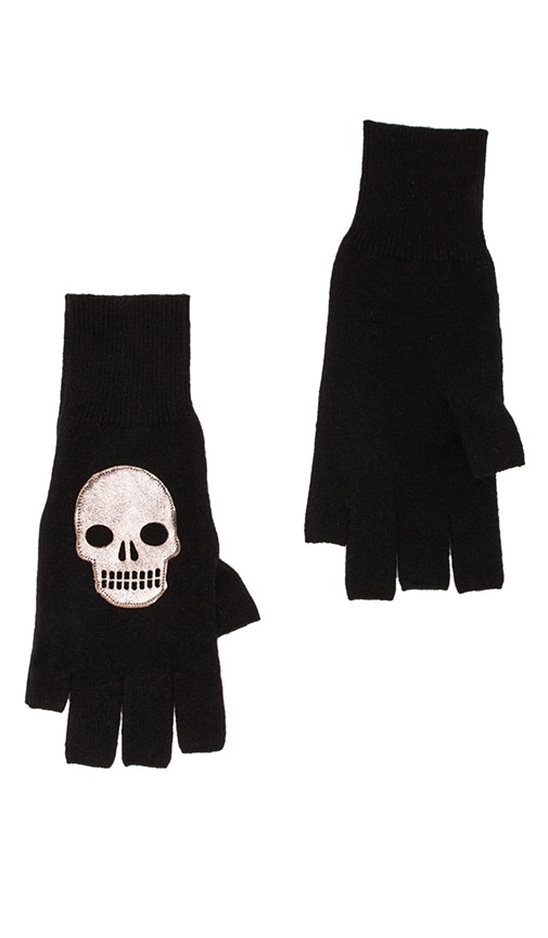 Fingerless Gloves w/ Leather Skull