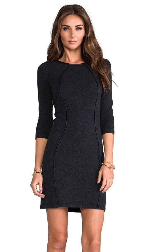Body Con Dress With Leather Piping