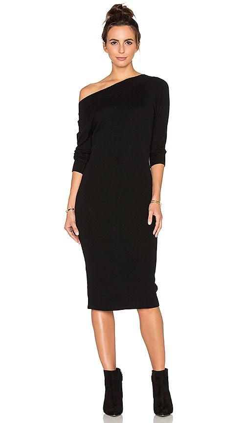 13051283909 Autumn Cashmere Off Shoulder Sweater Dress in Black