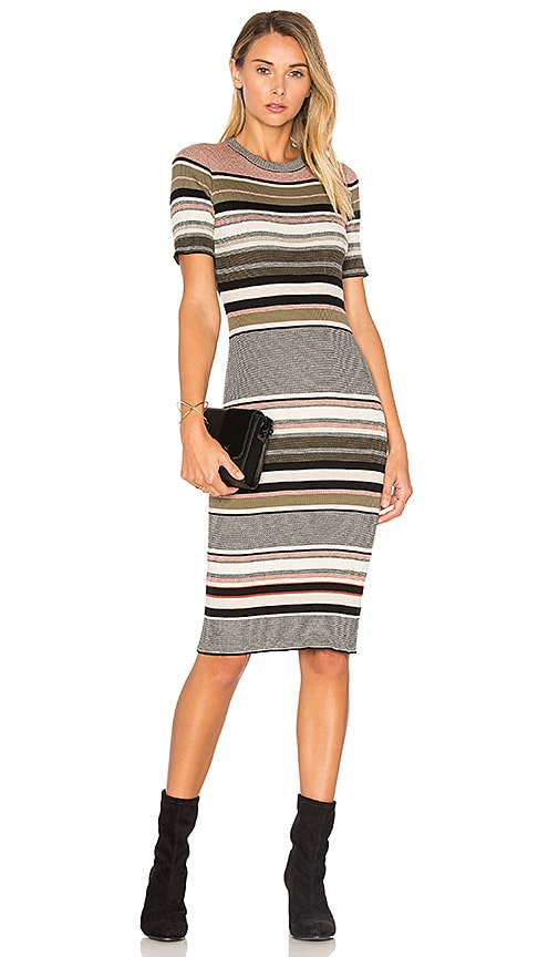 Autumn Cashmere Ribbed Stripe Dress in Black