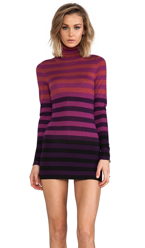 Striped Fitted Tissue Cashmere Turtleneck Tunic Sweater Dresses