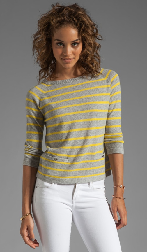 Pencil Stripe Boxy Crew with Pockets