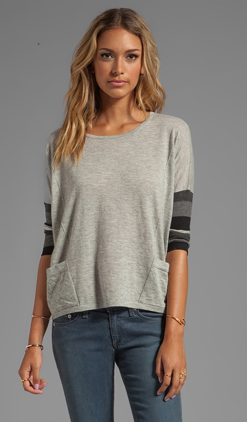 Tissue Cashmere Boxy Striped Sleeve With Pockets Sweater