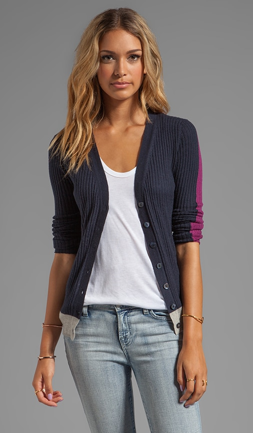 Tissue Cashmere Ribbed Color Block V Neck Cardigan