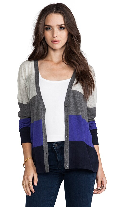 Tissue Cashmere Rectangle Stripe Cardigan
