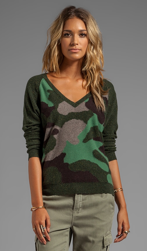 Camo V Neck Sweater