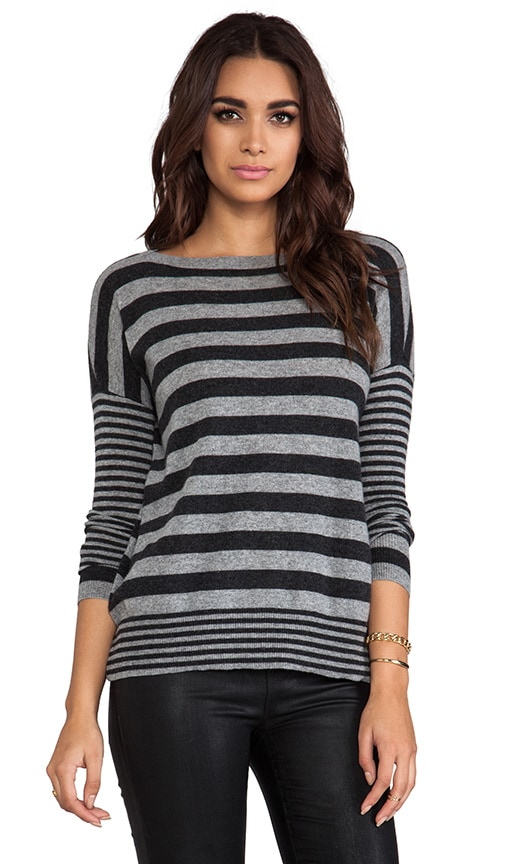 Boxy Mixed Stripe Boatneck Sweater