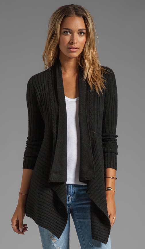 New Rib Drape With Cable Cardigan
