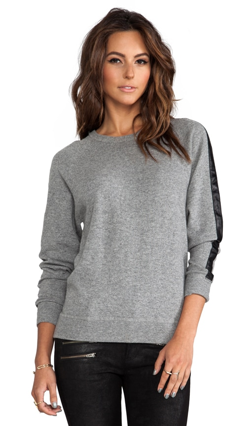 Sweatshirt With Leather Trim