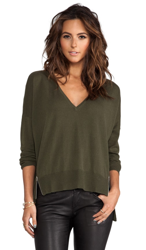 Hi Lo V-Neck Sweater with Side Zippers