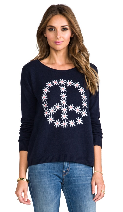 Flower Peace Boxy Crew Neck Pullover