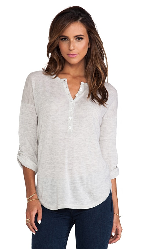 Tab Sleeve Henley w/ Skull Buttons