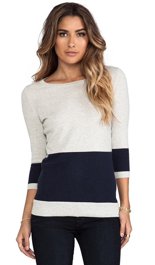 Color Block Striped Back Boat Neck Sweater