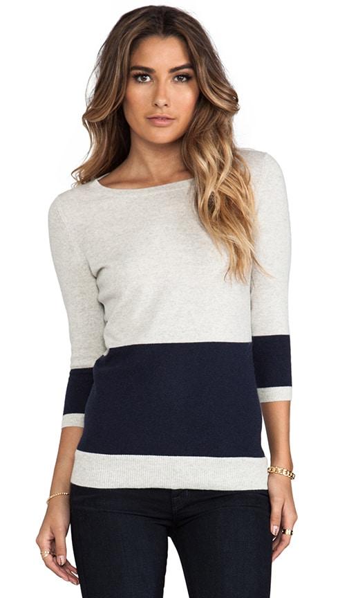 Color Block Striped Back Boat Neck Sweater