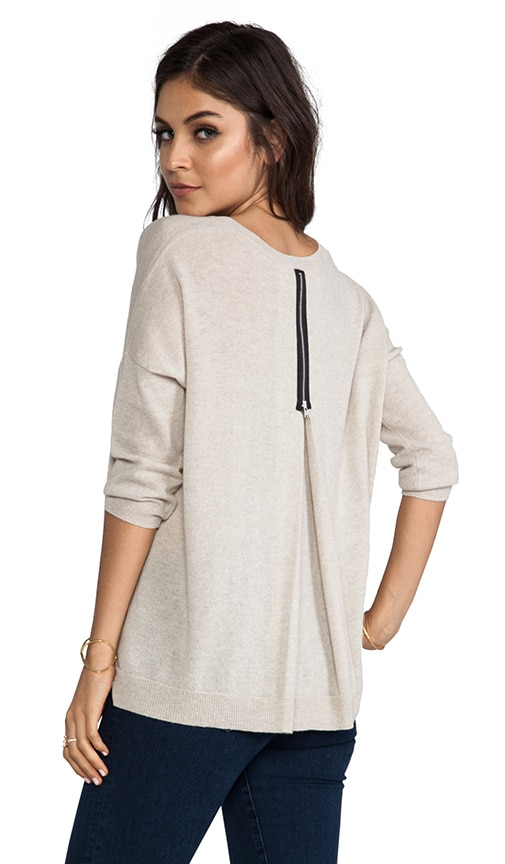 3/4 Sleeve Zipper Back Sweater