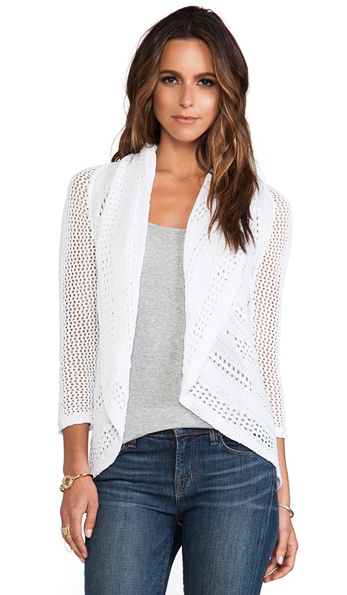 3/4 Sleeve Pointelle Drape Cardigan