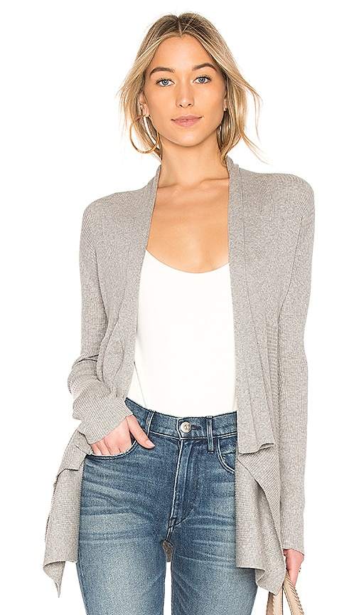 Autumn Cashmere Ribbed Drape Cardigan in Gray