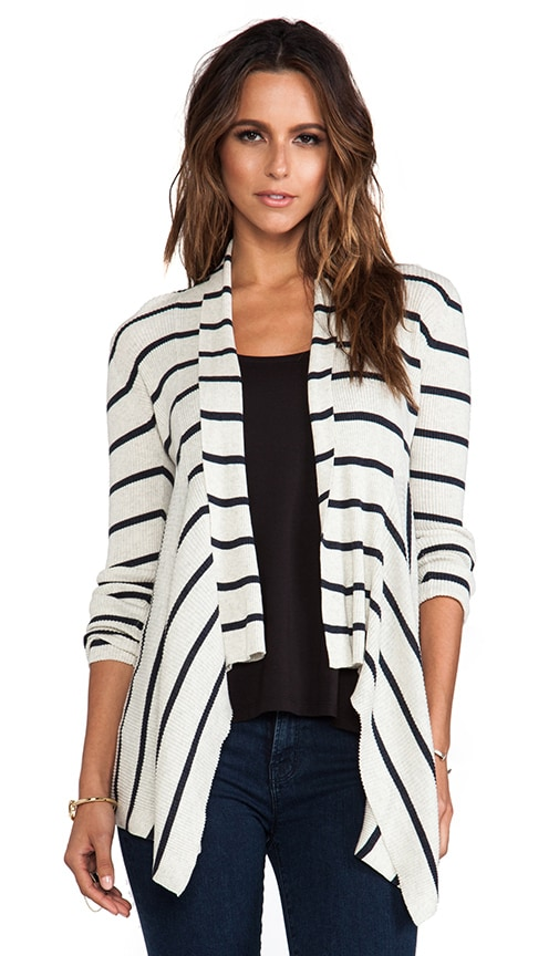 Striped Ribbed Drape Cardigan