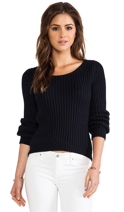 Hi Lo Shaker Stitch Crew Sweater