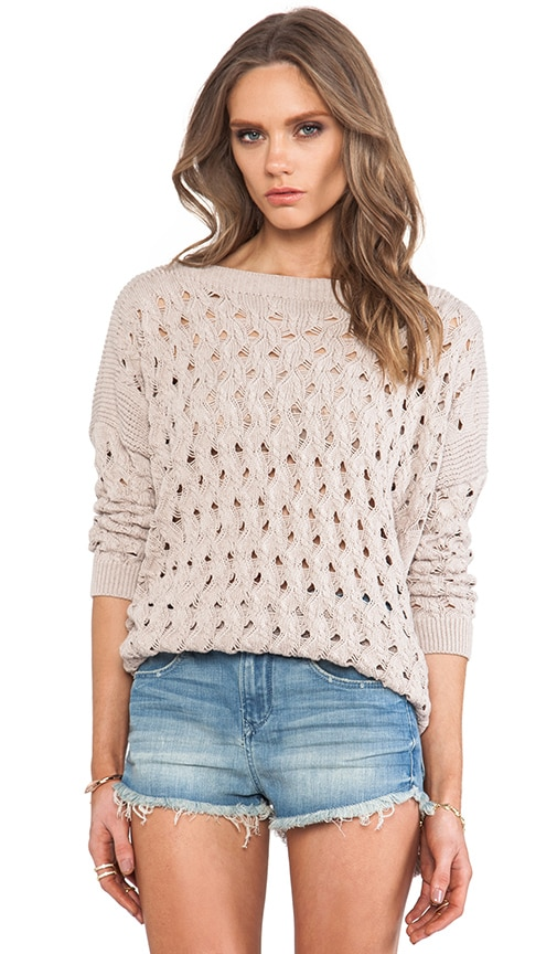 Open Stitch Hi Low Boatneck Sweater