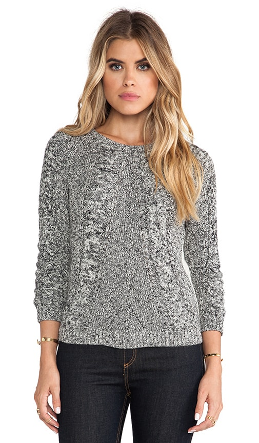 Tweed Cable Front Raglan Sweater
