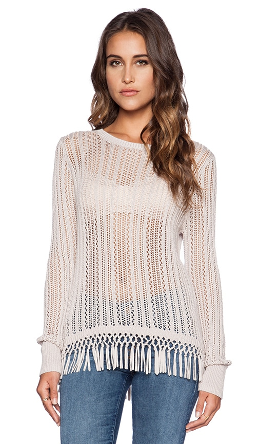 Autumn Cashmere Fringe Crew Neck Sweater in Flax