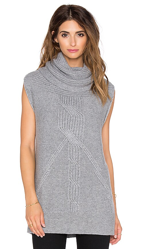 Autumn Cashmere Cable Cowl Tunic Gilet in Nickel