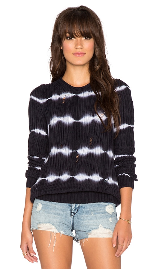 Tie Dye Torn Stitch Crew Sweater