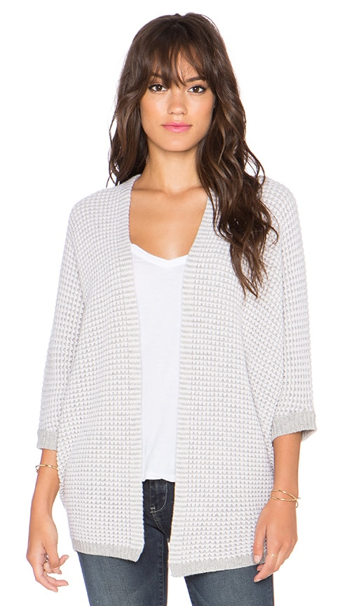 Autumn Cashmere Two Tone Open Dolman Cardigan in Fog & Chalk