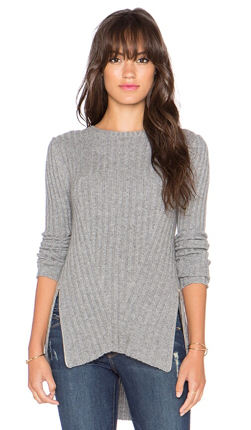 Autumn Cashmere Rib Side Zipper Flare Sweater in Nickel