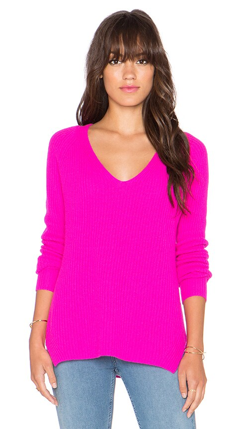 Autumn Cashmere Shaker Stitch V Neck Sweater in Pink