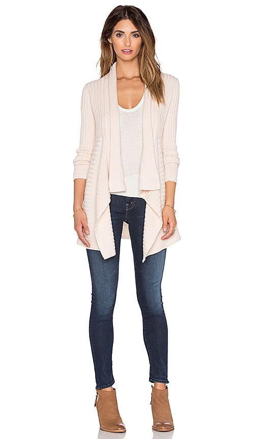 Autumn Cashmere New Rib Cable Drape Cardigan in Blush