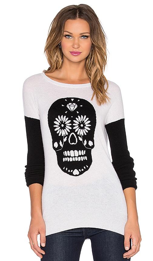 Autumn Cashmere Sugar Skull Crew Neck Sweater in Cloud & Black