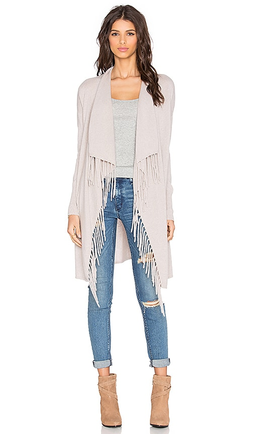 Autumn Cashmere Fringe Drape Cardigan in Bone