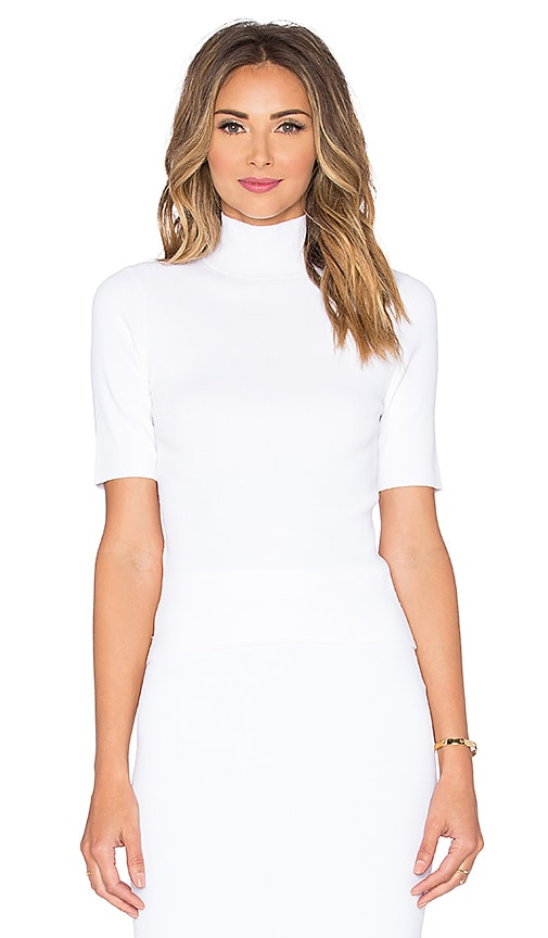 Autumn Cashmere Mock Neck Crop Top in White