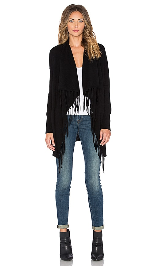 Autumn Cashmere Fringe Drape Cardigan in Black