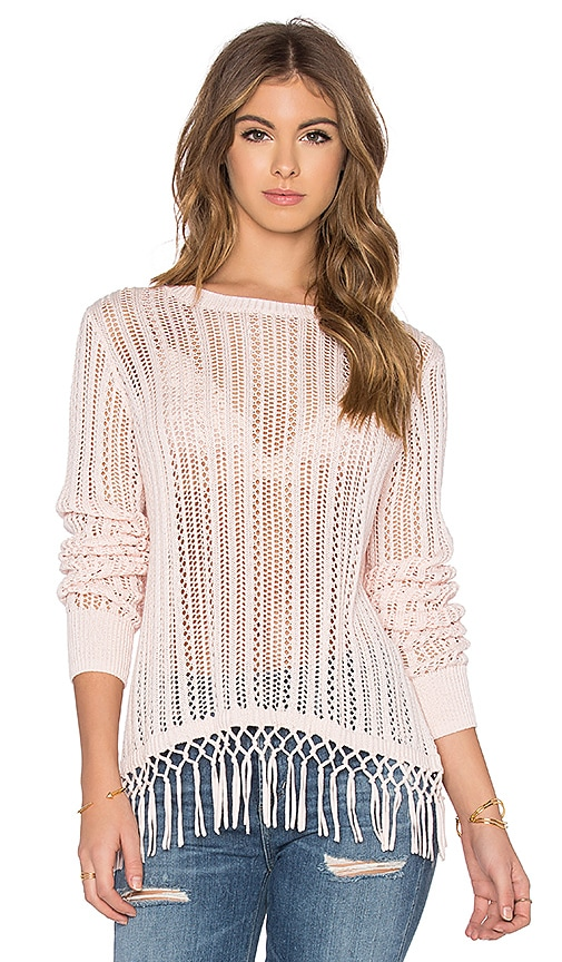 Autumn Cashmere Fringe Crew Neck Sweater in Pink