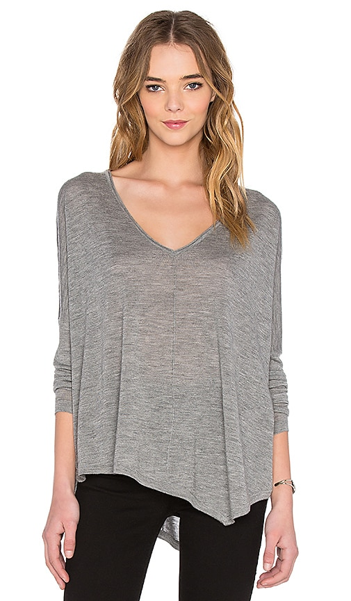 Autumn Cashmere Asymmetrical V Neck Sweater in Rock