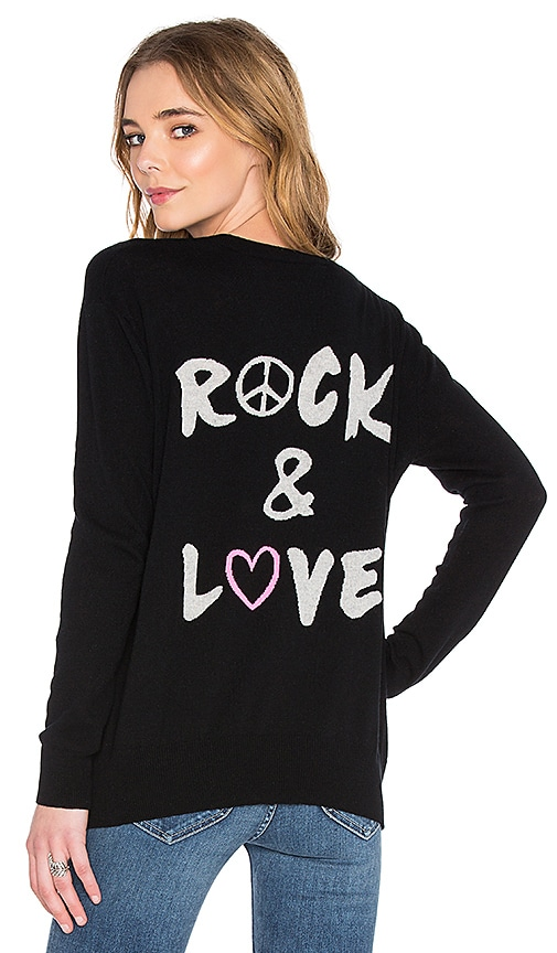 Autumn Cashmere Rock & Love Boyfriend Sweater in Black