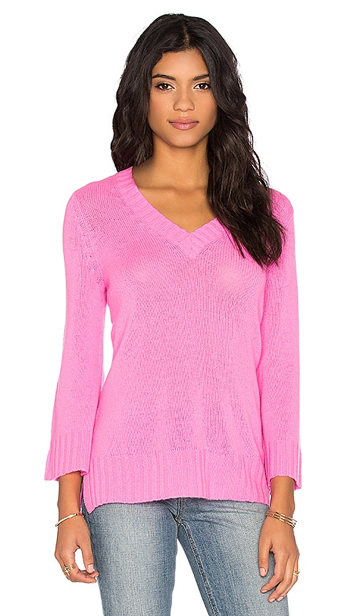 Autumn Cashmere Bell Sleeve V Neck Sweater in Rave