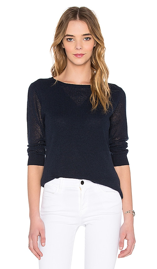 Autumn Cashmere Mesh Crew Neck Sweater in Navy
